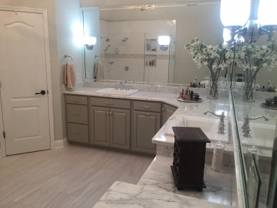 Marble Counters Subway Tile Shower Southern Concepts Contracting