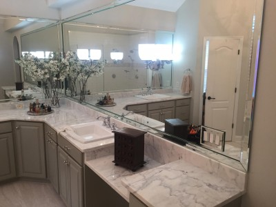 Kholer Drop-In Sinks Carerra White Marble Counters Bathroom Southern Concepts Contracting